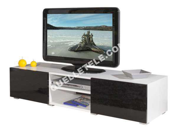 Tv aucune mango meuble tv 140cm blanc et noir laqu - Meuble noir et blanc laque ...
