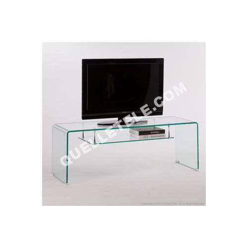 tv axe design meuble tv bas en verre trempé avec niche l126cm cristal - Axe Design Meuble
