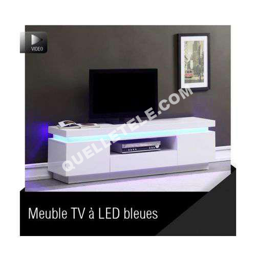tv mcd flash meuble tv 165cm blanc laqu avec led bleue. Black Bedroom Furniture Sets. Home Design Ideas